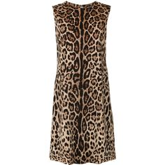 Dolce & Gabbana leopard print shift dress (101,105 INR) ❤ liked on Polyvore featuring dresses, brown, party dresses, short brown dress, holiday party dresses, going out dresses and sleeveless dress