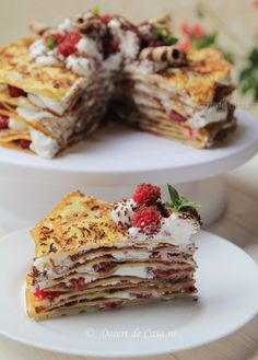 Tort de clatite cu ciocolata si zmeura - Desert De Casa - Mara Popa