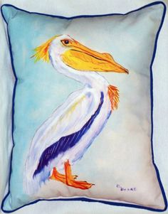 King Pelican Beach Cottage Pillow - Caron's Beach House