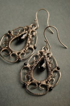 Silver Earrings w/ Black Spinel Kayla by mosaicdesign on Etsy, $145.00
