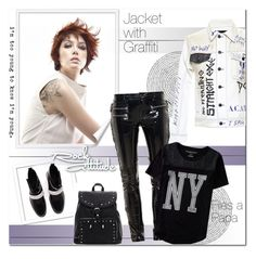 """Jacket with graffiti!!"" by alves-nogueira ❤ liked on Polyvore featuring Revlon, Filles à papa, Aéropostale, Christopher Kane, jacket and graffite"