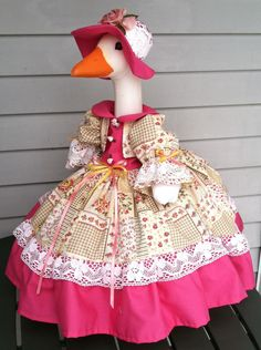 This outfit was displayed on my plastic goose. (goose not included). The dress has iridescent white lace at the bottom of the skirt bodice front and the collar, with small scalloped white lace on the bottom of the gingham ruffle and edges of the sleeves. Goose Clothes, Cool Pets, Little White, Peaches, Yellow Flowers, Stuffed Animals, White Lace, Squares, Lawn
