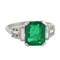 Art Deco 2.82 Carat Emerald Diamond Platinum Ring