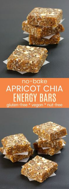 No-Bake Apricot Chia Energy Bars are a quick, easy, healthy snack that you can whip up in minutes with only six ingredients. Perfect for road trips and to pack in a school lunch box since they are gluten free, nut free, dairy free, and vegan. #cupcakesandkalechips #energybars #nobakerecipe #glutenfree #dairyfree #vegan #nutfree #peanutfree #allergyfriendly #healthysnack via @cupcakekalechip