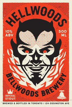 Creative Hellwoods, Big, Brewery, Devil, and Illustration image ideas & inspiration on Designspiration Graphic Illustration, Graphic Art, Illustrations, Vintage Graphic, Silkscreen, Typographie Inspiration, Beer Label Design, 2 Logo, Kunst Poster