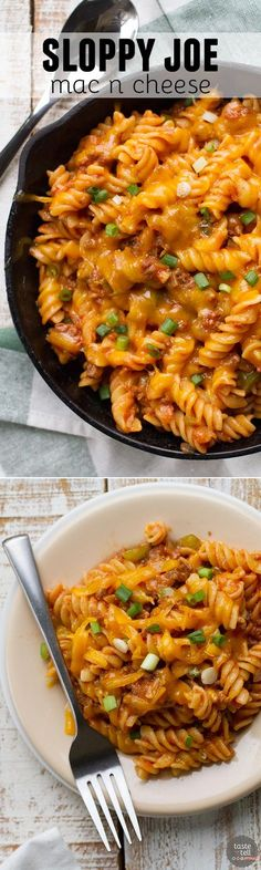 Comfort food in under 30 minutes! This Sloppy Joe Mac n Cheese takes the flavors o hif a sloppy joe and puts them in a big bowl of comforting pasta. The recipe makes 2 generous servings, but can easily be doubled or tripled to feed a crowd! I Love Food, Good Food, Yummy Food, Tasty, Beef Recipes, Cooking Recipes, Healthy Recipes, Cheese Recipes, Recipies