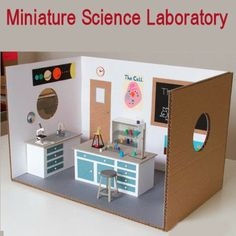 Miniature Science Laboratory -  Artist Kyle Bean has created a unique miniature library made of cardboard. From test tube to microscope and other apparatus everything is made of cardboard.