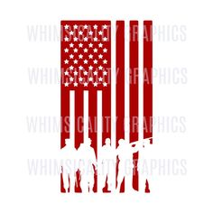 Digital File - American Flag With Military Silhouettes with svg, dxf, png, eps Commercial & Personal Use