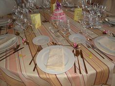 mesas, decoración, comuniones, rosa