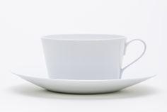 Time & Style Shirotae Tea Cup and Saucer. Porcelain. Cup: φ92×W114×H52 (TSKS31101). Saucer: φ158×H20(TSKS31201).