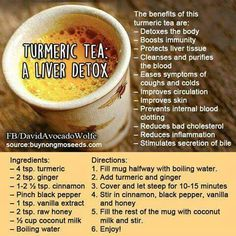 Turmeric tea: liver detox Detox Your Liver, Liver Cleanse, Cleanse Detox, Juice Cleanse, Stomach Cleanse, Detox Cleanses, Natural Detox Cleanse, Liver Detox Diet, Kidney Cleanse