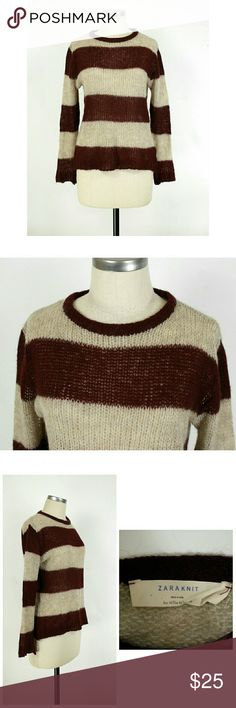 """Zara wool mohair striped sweater Size Medium. Zara wool mohair striped sweater in burgandy/gray. Long sleeves. Crewneck. Open knit. 42% acrylic 30% polyamid 14% wool 14% mohair. Like new condition with no flaws or issues. Approximate measurements Bust 38"""" Length 23.5"""". Zara Sweaters Crew & Scoop Necks"""