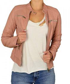57fb6529bcaf Γυναικείο δερματίνη μπουφάν ροζ με τσέπες D269W   γυναικειαχειμωνιατικαμπουφαν  εκπτωσεις  προσφορες Athletic