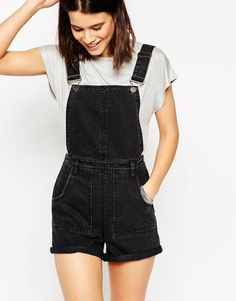 ASOS Denim Roll Hem Dungaree Short In Washed Black