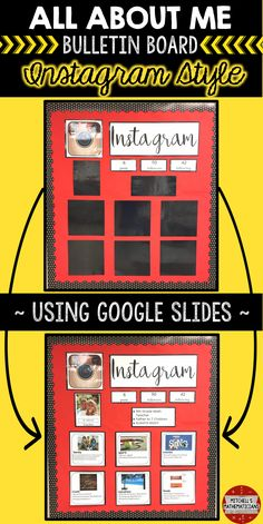 Check out this fun way to create a bulletin board using social media. This digital, All About Me Instagram bulletin board, is editable for your students through Google slides. There are 10 different post options for your students to choose from. They will edit the slides and then print off the pages for you to display on your bulletin board.