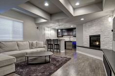 How to Finish Your Basement and Basement Remodeling Finishing your basement can almost double the square foot living space of your home. A finished basement can include new living space such as a r… Basement Colors, Basement Layout, Modern Basement, Basement Walls, Basement Bedrooms, Basement Flooring, Basement Ideas, Basement Bathroom, Rustic Basement