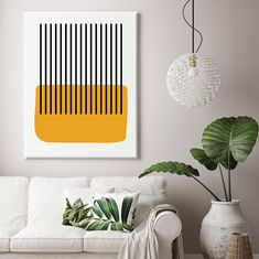 Mustard Blob is a mid century inspired canvas art prints available in rolled, stretched or float framed version. It features a mustard yellow abstract shape contrasted by black lines.