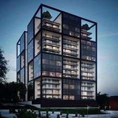 There are lots of design apartment building facade architecture that you can see here. This facade design are awesome contemporary and amazing. Architecture Design, Minimalist Architecture, Facade Design, Futuristic Architecture, Residential Architecture, Contemporary Architecture, Building Architecture, Building Exterior, Building Facade