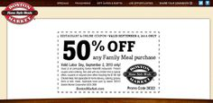 Boston Market coupons & Boston Market promo code inside The Coupons App. Large side item free with your family meal at Boston Market April Grocery Coupons, Online Coupons, Free Printable Coupons, Free Printables, Dollar General Couponing, Boston Market, Coupons For Boyfriend, Restaurant Coupons, Love Coupons