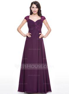 A-Line/Princess Sweetheart Floor-Length Chiffon Evening Dress With Ruffle Beading Sequins (017056147) - JJsHouse