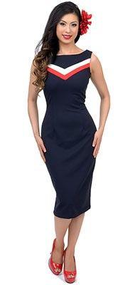 1940s Style Navy Chevron Rock The Boat Wiggle Dress