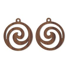 Drop, wood (natural), single-sided left- and right-facing flat round with cutout swirl design. Sold per pkg of Diy Leather Earrings, Wooden Earrings, Wooden Jewelry, Diy Earrings, Swirl Design, Leather Craft, Wood Crafts, Woodworking Projects, Biscuit