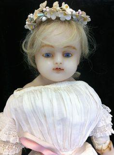 Beautiful RARE All Original Antique English 1800 039 s Era Wax Bride Doll   eBay