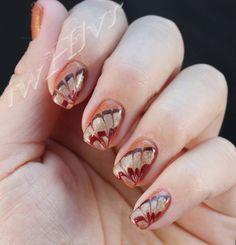 iwhlvr nail art Thanksgiving turkey feathers Soak Off Gel Nails, Gel Nail Polish, Fall Nail Art, Fall Nails, November Nails, Water Marble Nails, Turkey Feathers, Thanksgiving Turkey, Nail Ideas