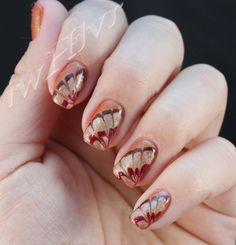iwhlvr nail art Thanksgiving turkey feathers