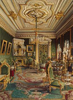 The Green Drawing Room, Windsor Castle Drawing Room of Baron Steiglitz's, Premazzi Palace, St Petersburg, Russia Another Drawing. Beautiful Architecture, Beautiful Buildings, Art And Architecture, Russian Architecture, Victorian Architecture, Hermitage Museum, Victorian Interiors, Second Empire, Classic Interior