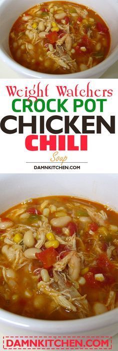 weight watchers recipes with points Crock Pot Chicken Chili (Weight Watchers) Loading. weight watchers recipes with points Crock Pot Chicken Chili (Weight Watchers) Ww Recipes, Chili Recipes, Slow Cooker Recipes, Soup Recipes, Chicken Recipes, Cooking Recipes, Healthy Recipes, Cooking Chili, Dinner Recipes
