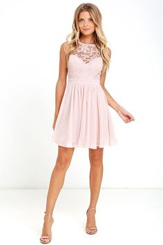You can't help but hum a happy tune when you take a twirl in the Jolly Song Blush Lace Skater Dress! Elegant crocheted lace tops a sweetheart silhouette atop a lightly padded bodice with darted detail. Lovely woven fabric falls from a banded waist into a flirty skater skirt. Three hook clasps join above an open back. Hidden back zipper with clasp.