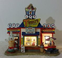 "LEMAX ""TWIRLEY'S SOFT SERVE"" Harvest Crossing Lighted Christmas Village Building"