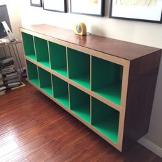 Elevated long bookcase