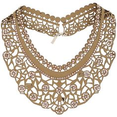 TopShop Fabric Cut-Out Collar Necklace ($24) ❤ liked on Polyvore featuring jewelry, necklaces, beige, topshop jewelry, topshop, collar necklace, rhinestone jewelry y cut out necklace