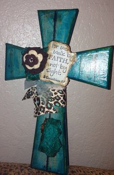 Shabby Brown & Turquoise Cross on Etsy, $15.00