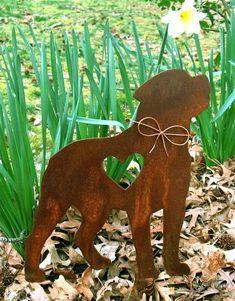Rottweiler Dog Metal Garden Stake - Yard Garden Art - Pet Memorial