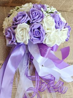 Purple Roses Artificial Flowers Bouquet - $23.99 Milanoo.com