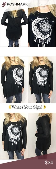 "Moon Zodiac Long Sleeve Tee Tunic SML What's your sign?  Simply adorable black hi low tunic top with white zodiac moon graphic. Fun, flirty & flowy fit. Lightweight & stretchy 100% Rayon. Perfect with leggings, jeggings, skinnies & shorts.   • Small (Will Fit Med) Bust 38"" Front Length 26"" Back 29"" • Medium (Will Fit Large) Bust 39"" Front Length 27"" Back  30"" • Large Bust 40"" (Will Fit XL) Front Length 28"" Back 31"" Tops Tees - Long Sleeve"