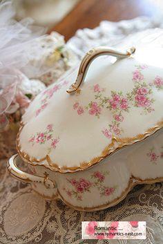 Haviland limoges..pink floral petals casserole