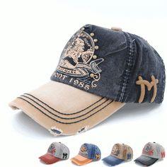 Mens Women Cotton Vintage Snapback Baseball Cap Multicolor Hole Casual Sunshade Golf Ball Hats