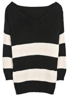 Black White Striped Batwing Long Sleeve Sweater US$69.00 I bought this and its coming the mail soon hopefully it looks just like the picture :D