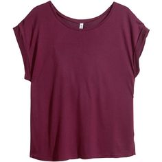 H&M Basic top (5.775 CLP) ❤ liked on Polyvore featuring tops, t-shirts, shirts, tees, tee-shirt, purple jersey, purple top, purple shirt and purple tee