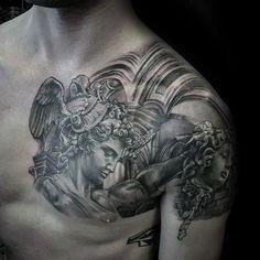 Skull Tattoos, Leg Tattoos, Body Art Tattoos, Sleeve Tattoos, Gangsta Tattoos, Statue Tattoo, Cool Tattoos Pictures, Picture Tattoos, Chest Piece Tattoos