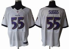 Terrell Suggs Jersey: Nike 2012 Elite #55 Baltimore Ravens Jersey in White  ID:9809905  $23