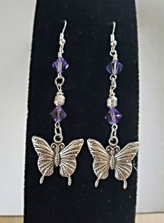 Lovely Butterfly Dangle Earrings/Tanzanite Swarovski Crystals by WolfMountainJewelry on Etsy 15.00