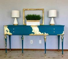 Glamorous Hand Painted Sheraton Style Console This elegant antique sideboard has been given a glamorous makeover! Hand painted in a… decor Elegant Gold Leaf Furniture, Funky Furniture, Refurbished Furniture, Paint Furniture, Repurposed Furniture, Furniture Projects, Furniture Makeover, Vintage Furniture, Home Furniture