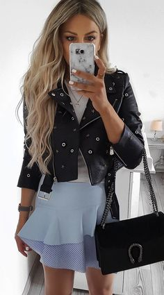 #summer #outfits Black Leather Jacket + Blue Skirt
