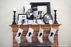 Love the black and white photos on the mantle