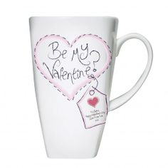 Personalised Stitch Heart Be My Valentine Tall Latte Mug  Valentines Day Gift for your girlfriend or wife